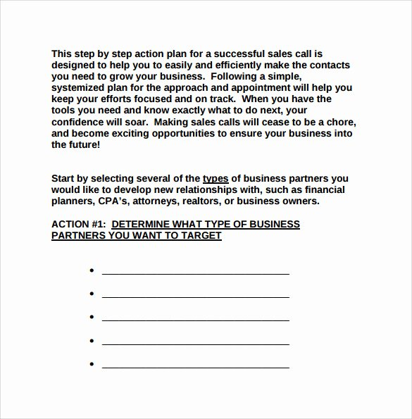 Sales Action Plan Template Lovely 8 Sales Action Plan Templates to Download