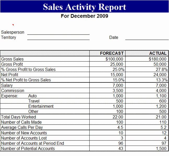 Sales Activity Report Template Awesome 29 Of Sales Report Excel Template