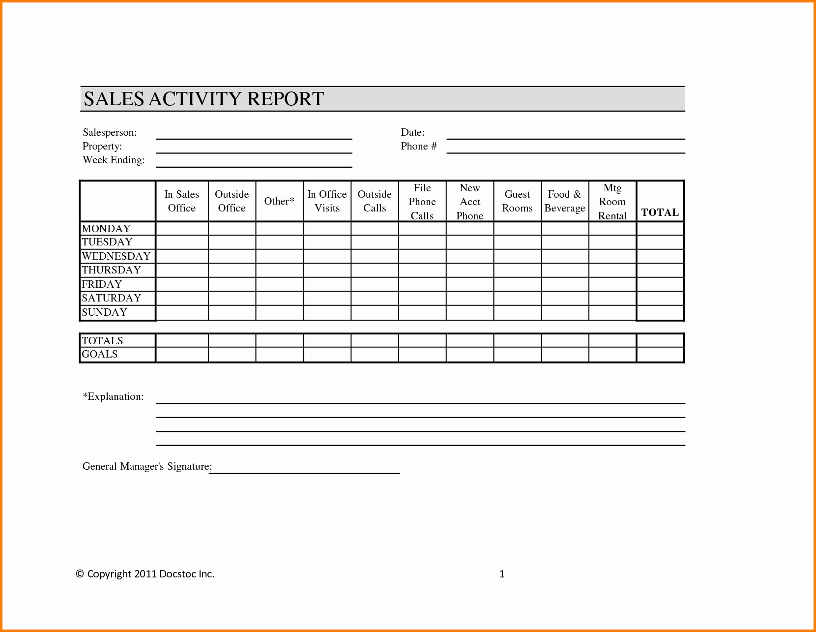 Sales Activity Report Template Fresh Weekly Sales Report Template