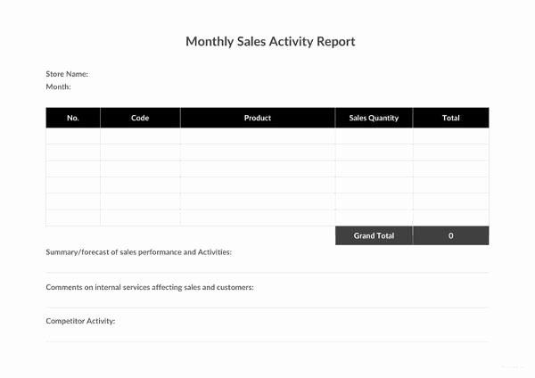 Sales Activity Report Template Luxury 30 Monthly Sales Report Templates Pdf Doc Apple Pages