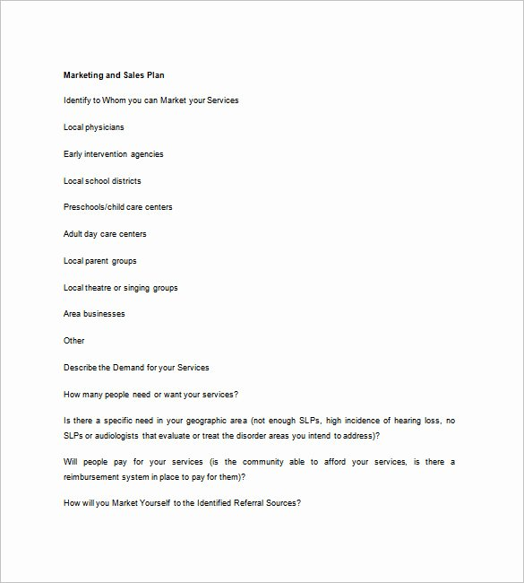 Sales and Marketing Plan Template Elegant Sales Business Plan Template 12 Word Excel Pdf format