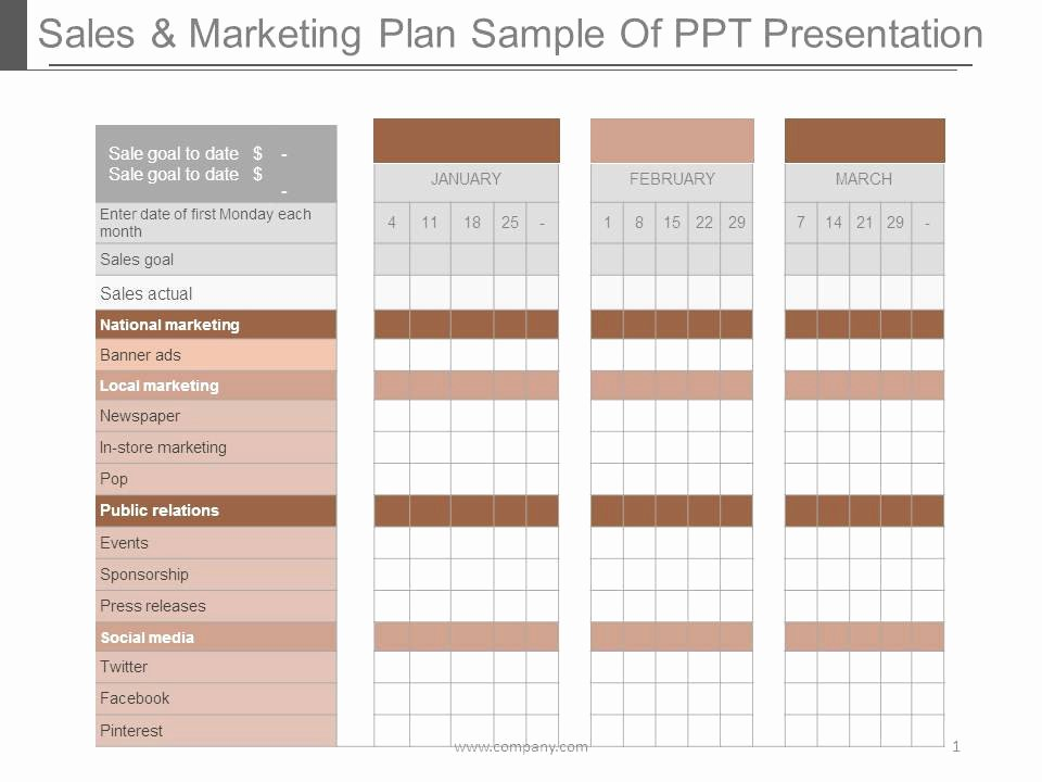 Sales and Marketing Plan Template New Sales and Marketing Plan Sample Ppt Presentation
