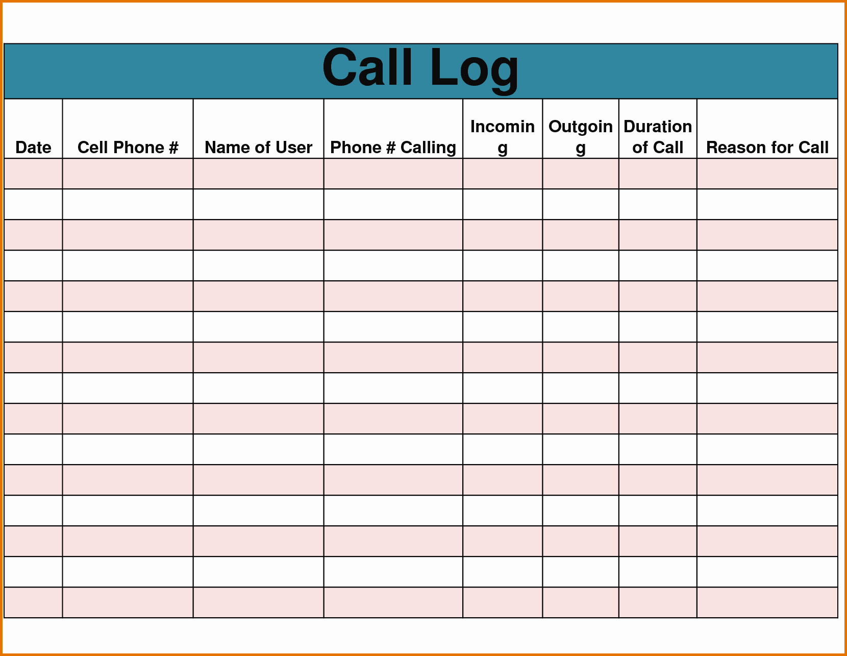 Sales Call Log Template Awesome 7 Sales Call Logreference Letters Words