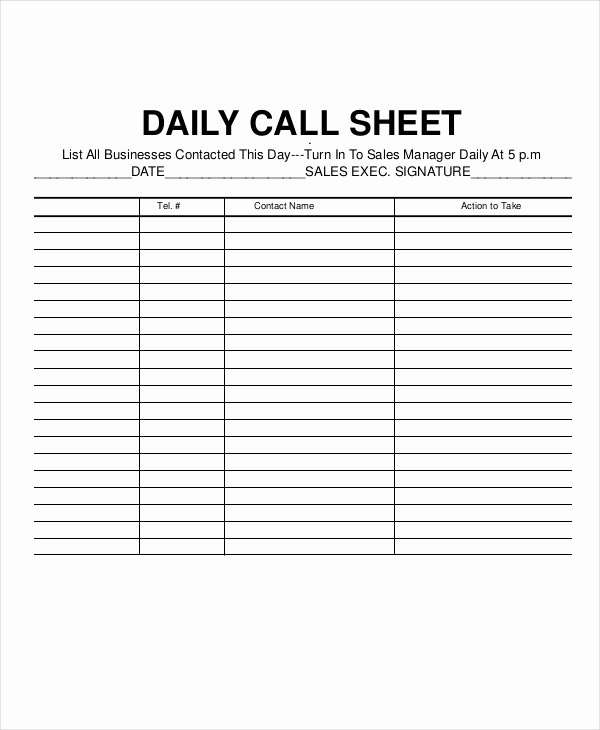 Sales Call Log Template Beautiful Call Log Sheet Template 11 Free Word Pdf Excel