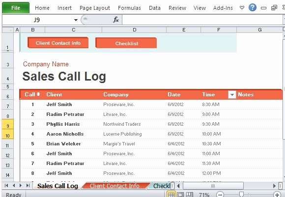 Sales Call Log Template Beautiful Sales Call Log organizer for Excel