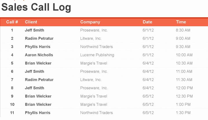 Sales Call Log Template Elegant 4 Sales Call Log Excel Templates Excel Xlts