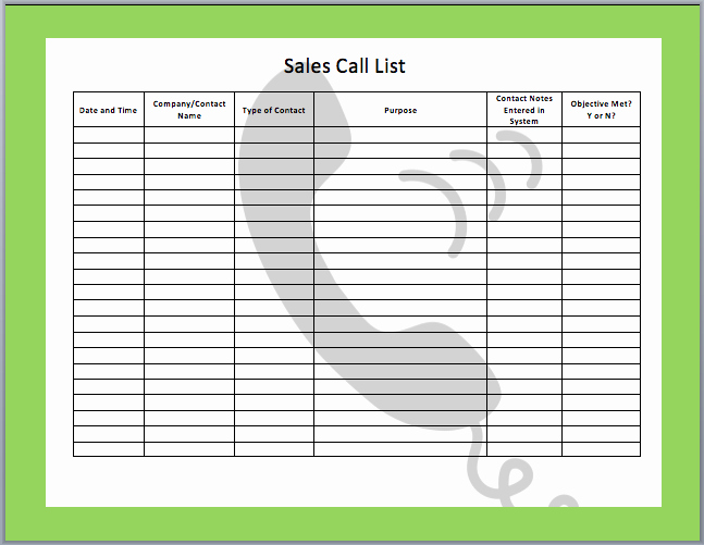 Sales Call Log Template Elegant Sales Call Templates Free Search Results