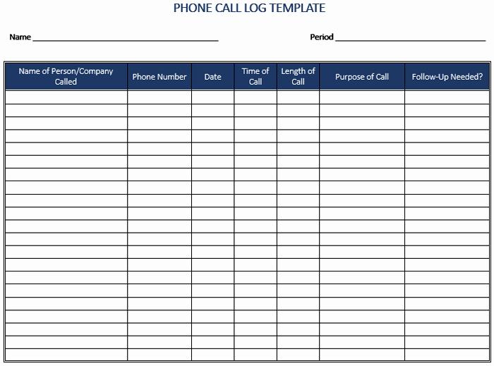 Sales Call Log Template Inspirational 5 Call Log Templates to Keep Track Your Calls