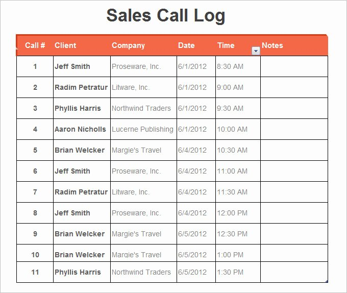 Sales Call Log Template Lovely 16 Log Templates Free Word Excel Pdf