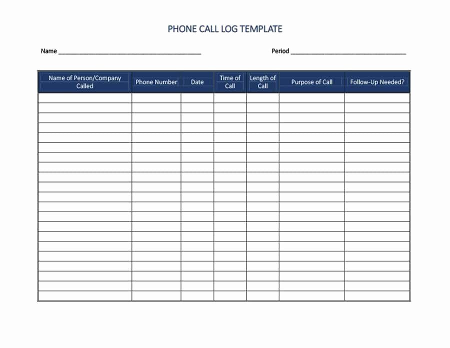 Sales Call Log Template Lovely 40 Printable Call Log Templates In Microsoft Word and Excel