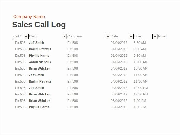 Sales Call Log Template New 13 Sample Call Log Templates – Pdf Word Excel Pages