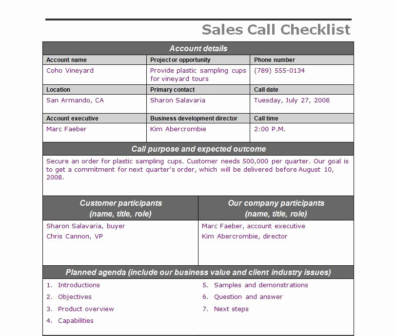 Sales Call Log Template New Sales Call Checklist