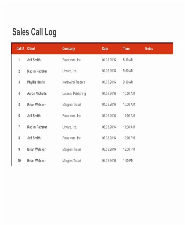 Sales Call Log Template Unique 39 Free Log Templates