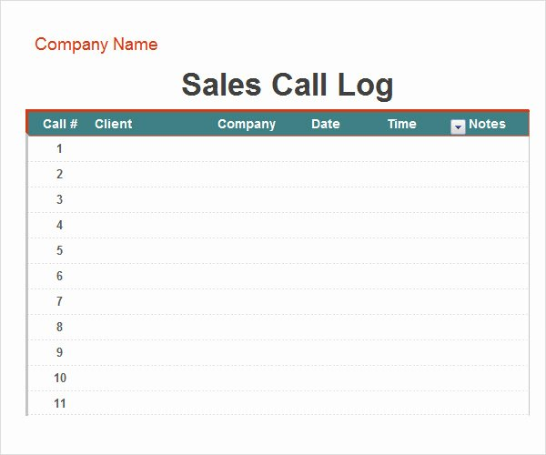 Sales Call Log Template Unique Call Log Template 11 Download Free Documents In Pdf Word