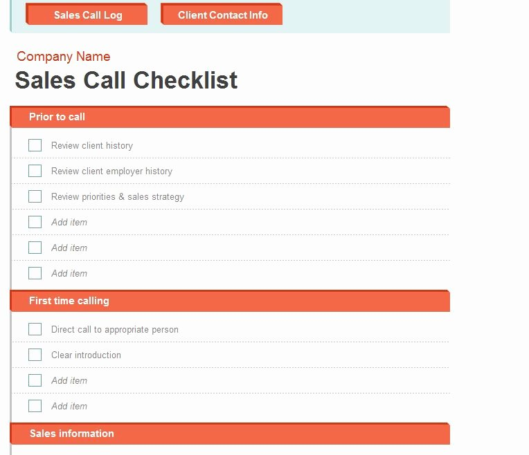 Sales Call Plan Template Elegant Sales Call Log