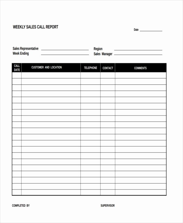 Sales Call Report Template Excel Beautiful 15 Sales Report form Templates