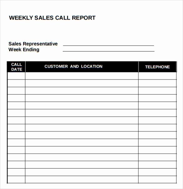 Sales Call Report Template Excel Fresh Sales Call Report Template 7 Download Free Documents In