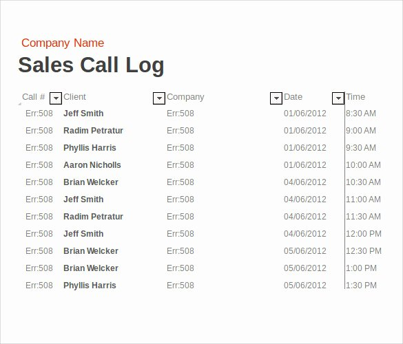 Sales Call Report Template Excel New 14 Sales Call Report Samples