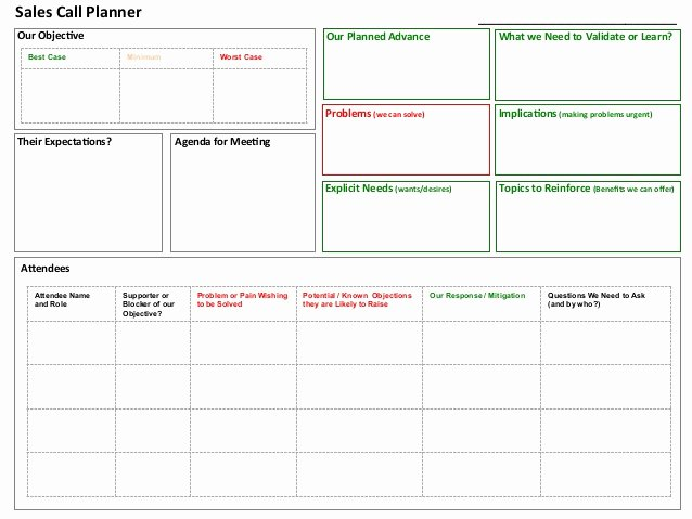 Sales Call Report Template Excel New Sales Call Planner tool