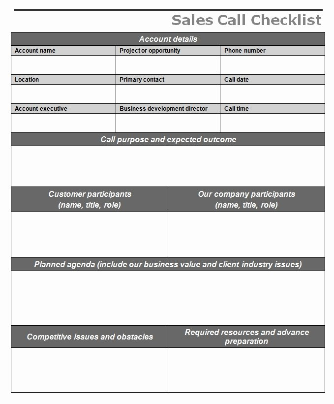 Sales Call Reporting Template Best Of Sales Call Checklist