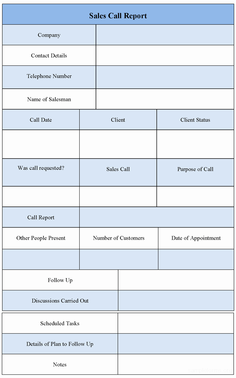 Sales Call Reporting Template Elegant Sales Call Report form Sample forms