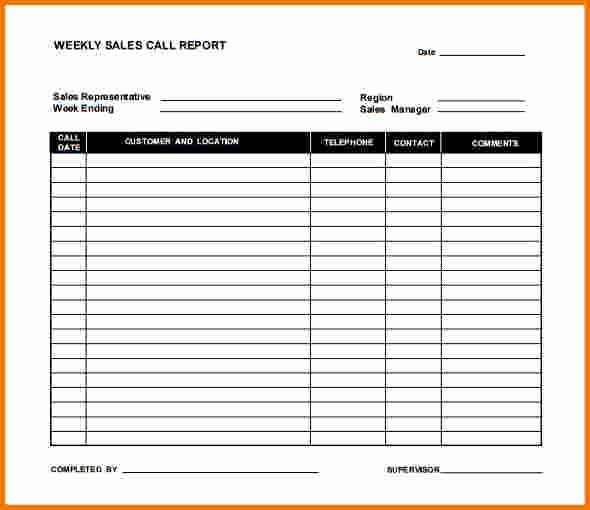 Sales Call Reporting Template Fresh 7 Weekly Sales Report Template