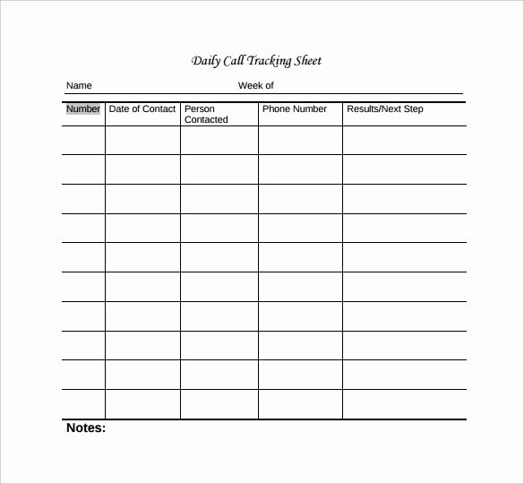 Sales Call Tracking Template Beautiful Call Sheet Template 23 Free Word Pdf Documents