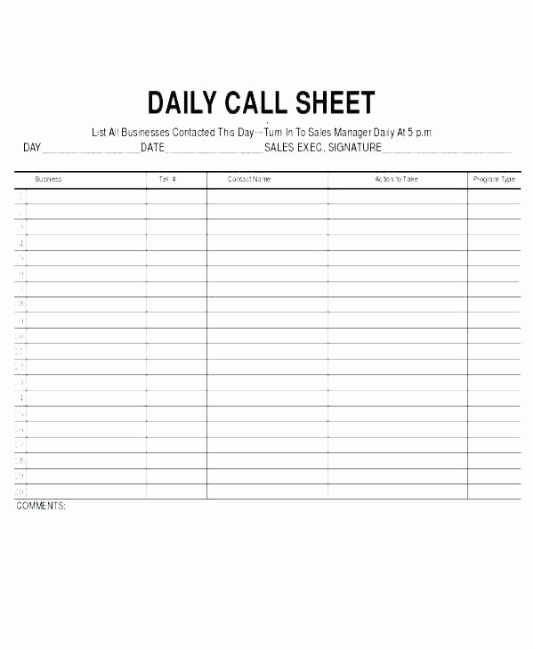 Sales Call Tracking Template Fresh Template Sales Rep Daily Call Sheet Template Calls