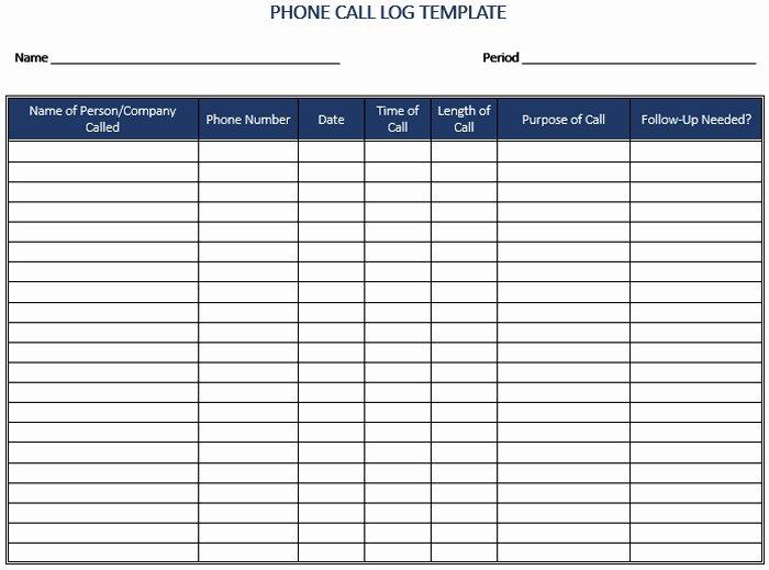 Sales Call Tracking Template Inspirational Call Log Template Beepmunk
