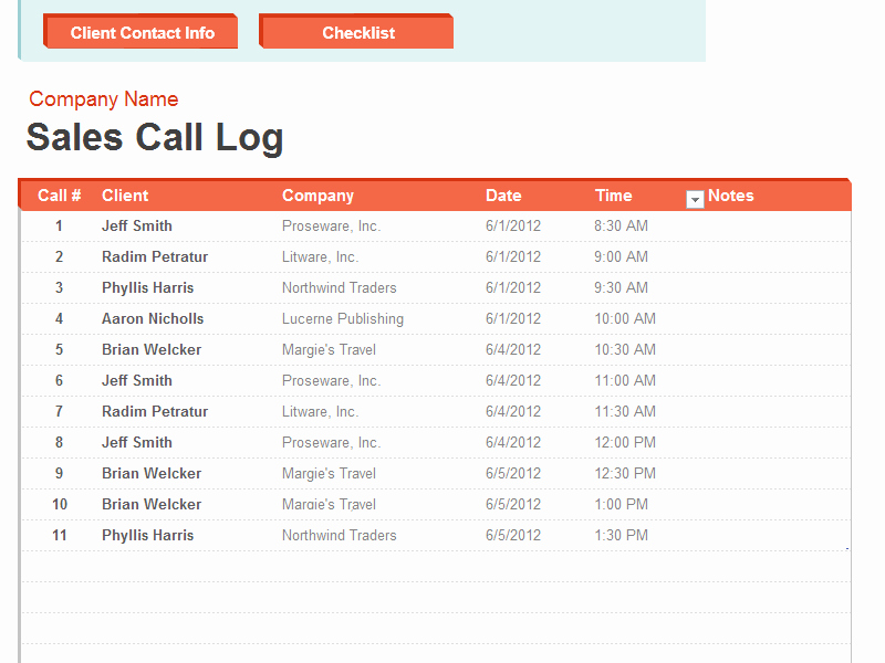 Sales Call Tracking Template Luxury Sales Call List Template format Example