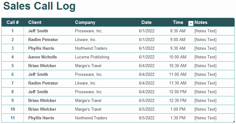 Sales Call Tracking Template New 5 Call Log Templates to Keep Track Your Calls