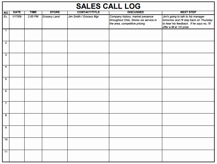 Sales Call Tracking Template Unique 5 Sales Log Templates formats Examples In Word Excel