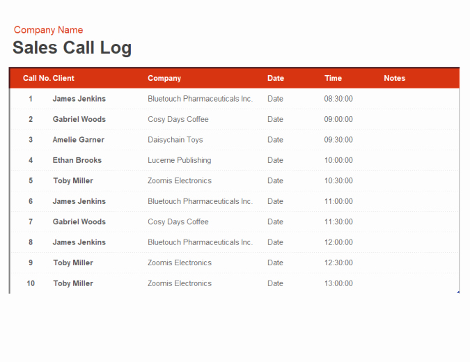 Sales Call Tracking Template Unique Sales Call Log and organiser