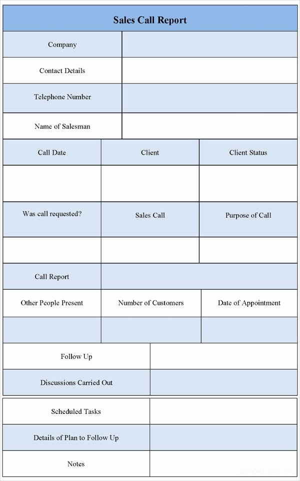 Sales Calls Report Template Awesome 8 Sales Call Report Examples Pdf