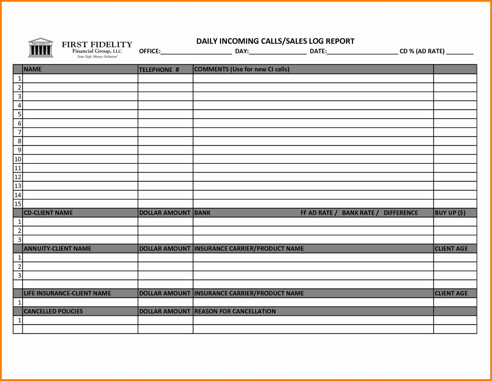 Sales Calls Report Template Awesome Hotel Sales Callort Sample Weekly Template form