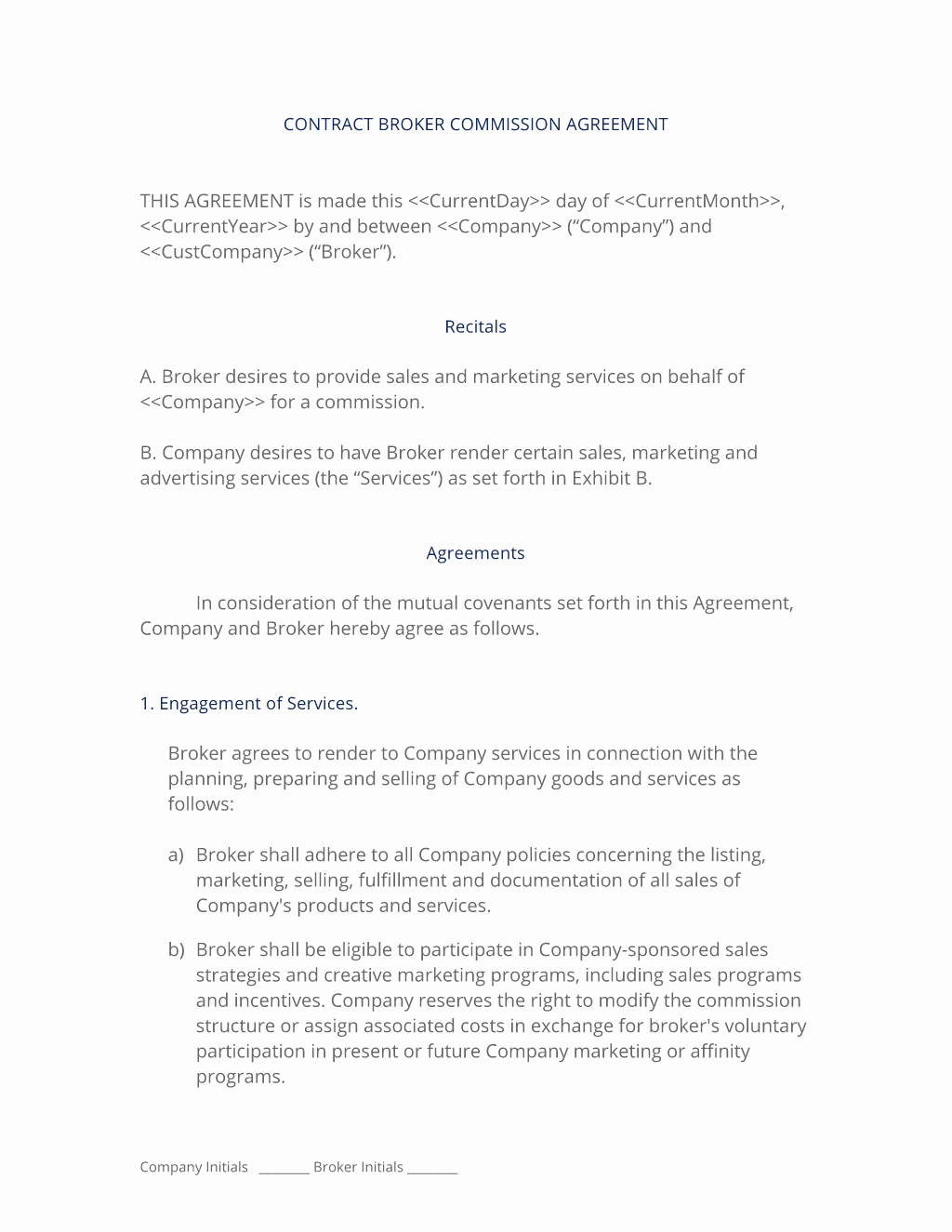 Sales Commission Contract Template Best Of Broker Mission Sales Agreement 3 Easy Steps
