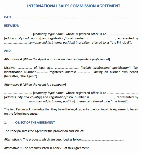 Sales Commission Contract Template New Sales Contract Template 7 Free Pdf Doc Download