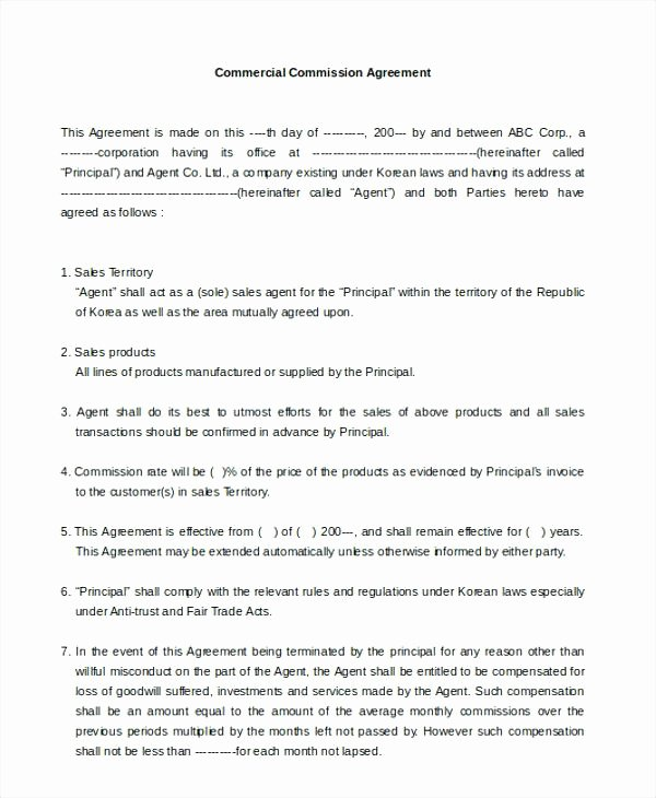 Sales Commission Contract Template Unique Sales Contract form Basic Transaction Agreement Template