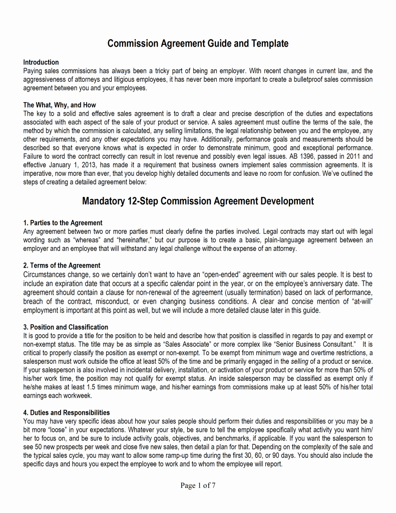 Sales Commission Plan Template Beautiful Sales Mission Agreement Template