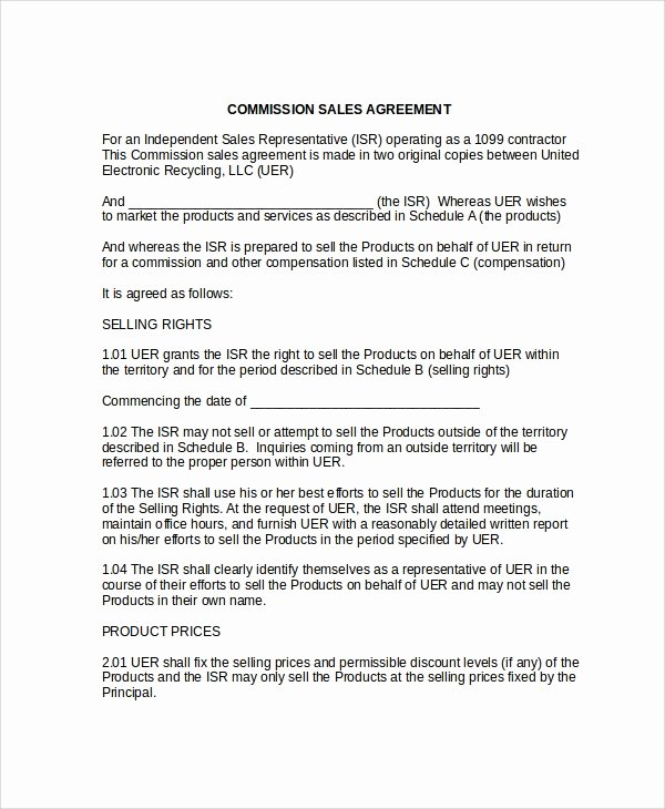 Sales Commission Plan Template Fresh 9 Mission Sales Agreement Templates
