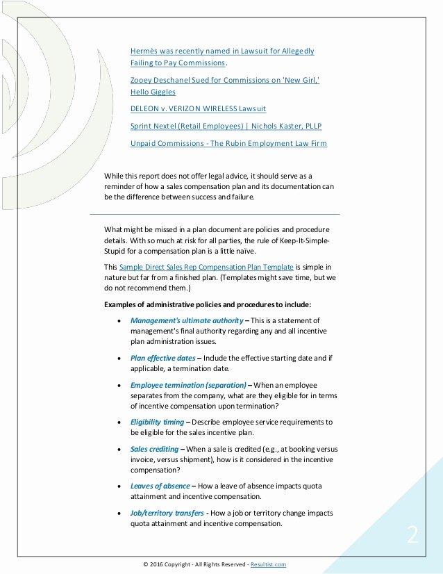 Sales Commission Plan Template Fresh Sales Pensation Plans Examples Templates software Options