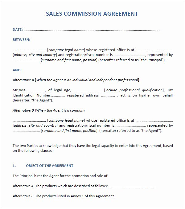 Sales Commission Plan Template New Sales Agreement 6 Free Pdf Doc Download