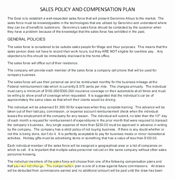 Sales Commission Plan Template Unique Sales Mission Agreement Policy Template Mision