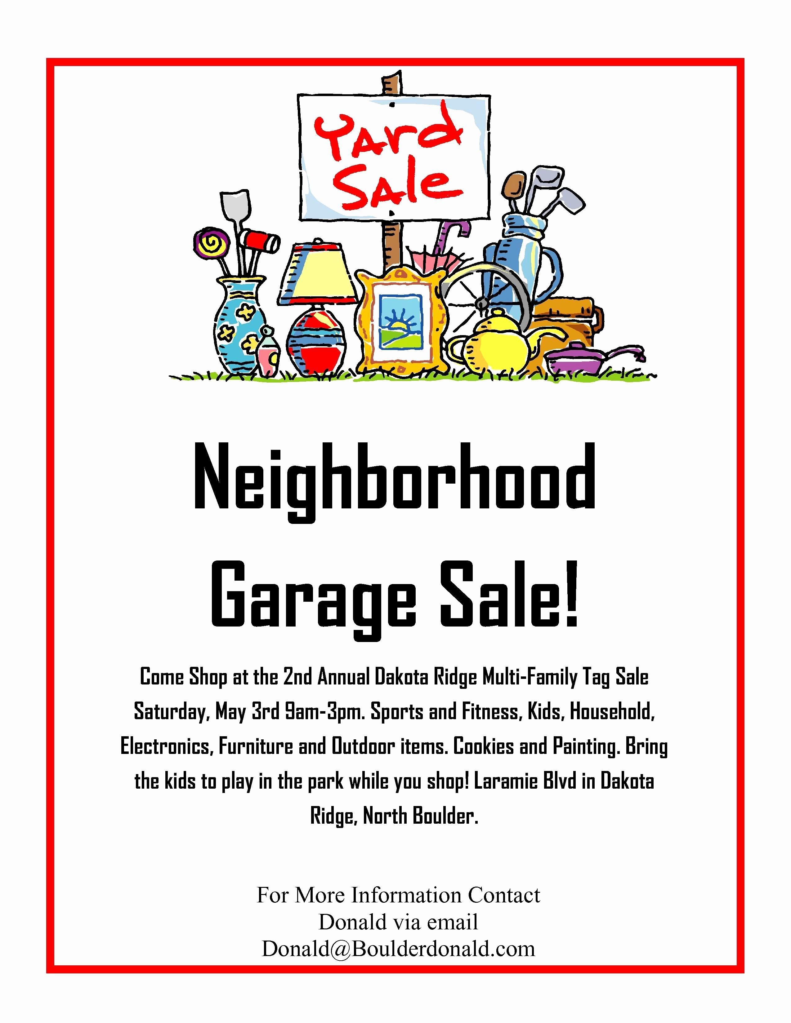 Sales Flyer Template Word Best Of Dakota Ridge Munity Garage Sale May 3rd 2014