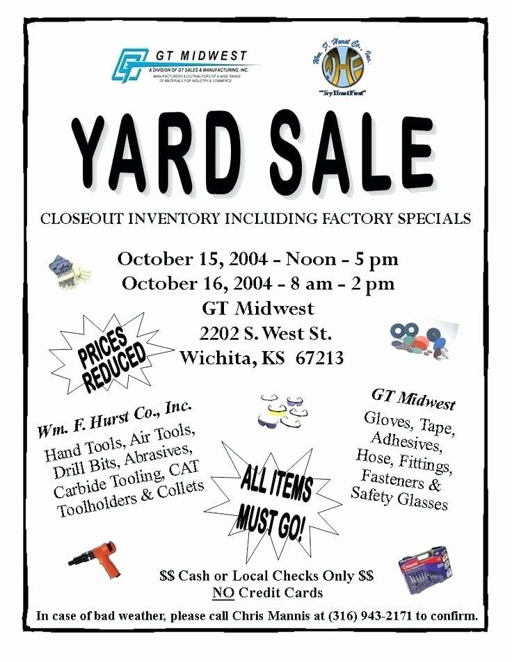 Sales Flyer Template Word Fresh Yard Sale Flyer Template Garage Sale Flyers 8 Yard Sale