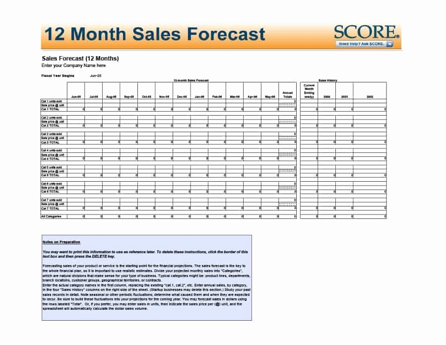 Sales forecast Template Excel Luxury 12 Month Sales forecast Excel Template