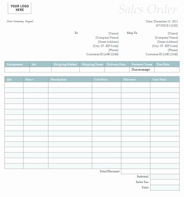 Sales order form Template Awesome Sales order with Simple Blue Design
