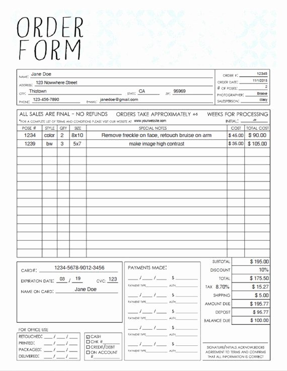 Sales order form Template Beautiful Pdf General Graphy Sales order form Template