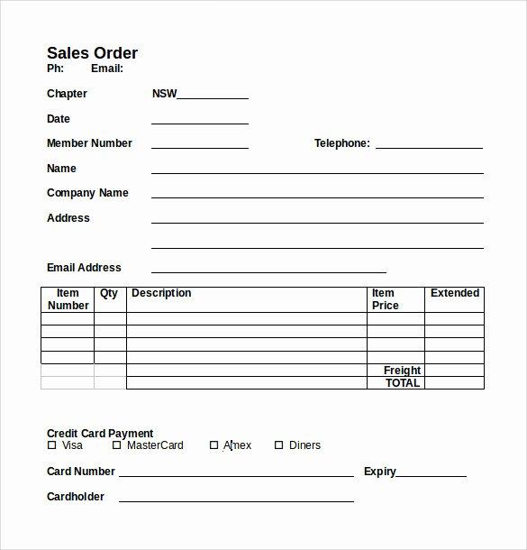 Sales order form Template Best Of 7 Sales order Samples