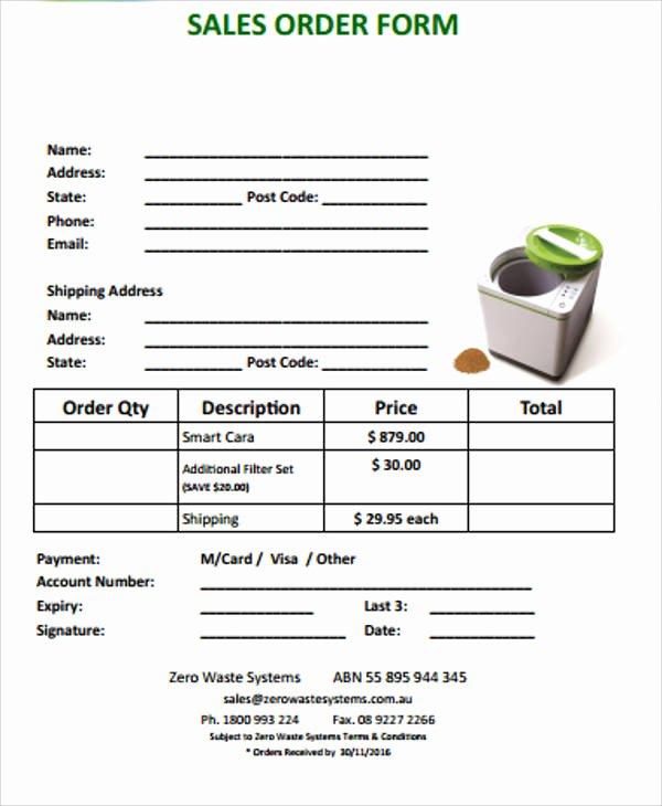 Sales order form Template Inspirational 11 Sample Sales order forms